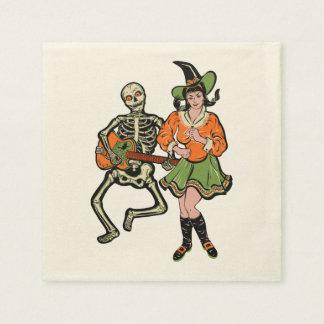 Vintage Rockabilly Skeleton and Witch Napkins Disposable Napkins