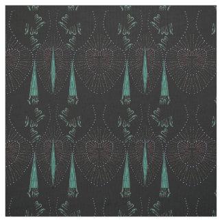 Vintage Romance on Turquoise/Black Cotton Fabric