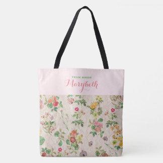 Vintage Romantic Floral Pink Green Elegant Wedding Tote Bag