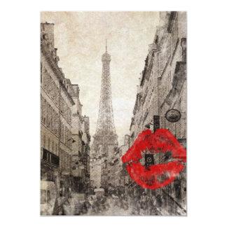 Vintage Romantic Paris Eiffel Tower 13 Cm X 18 Cm Invitation Card