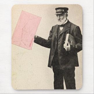 Vintage romantic postman mouse pad