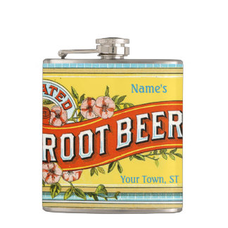Vintage Root Beer Soda Pop Whiskey Label Hip Flask