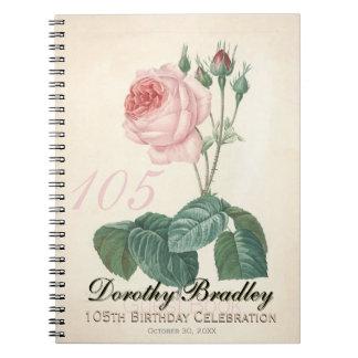 Vintage Rose 105th Birthday Celebration Guest Book Spiral Notebook