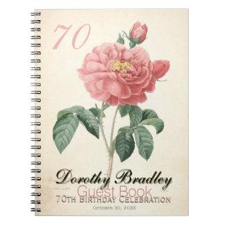 Vintage Rose 70th Birthday Celebration Guest Book Spiral Note Books