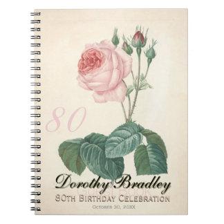 Vintage Rose 80th Birthday Celebration Guest Book Spiral Note Book