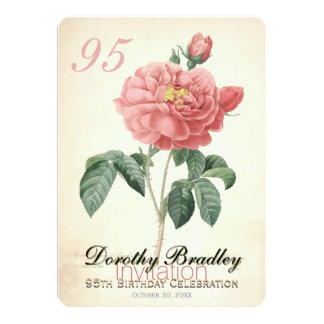 Vintage Rose 95th Birthday Celebration Custom 13 Cm X 18 Cm Invitation Card