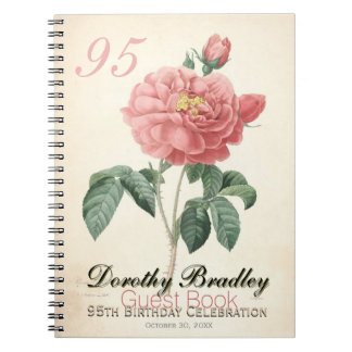 Vintage Rose 95th Birthday Celebration Guest Book Spiral Notebook