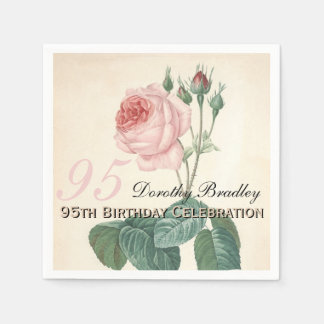 Vintage Rose 95th Birthday Party Paper Napkins