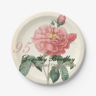 Vintage Rose 95th Birthday Party Paper Plates 2 7 Inch Paper Plate