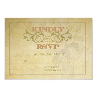 Vintage Rose and Swirl RSVP Card 9 Cm X 13 Cm Invitation Card