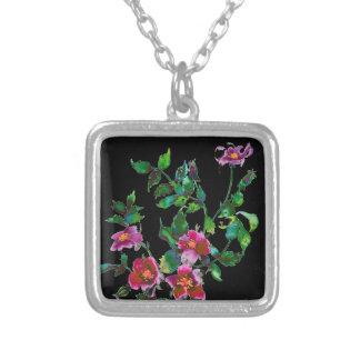 Vintage Rose black Silver Plated Necklace