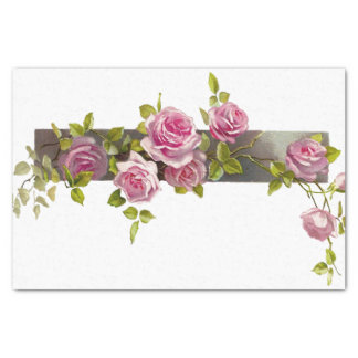 "Vintage Rose Cascade 10"" X 15"" Tissue Paper"