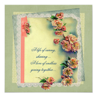 Vintage Rose  Design for Vow Renewal 13 Cm X 13 Cm Square Invitation Card