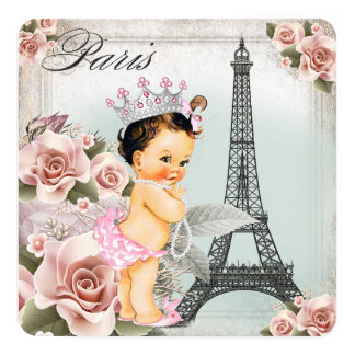 Vintage Rose Eiffel Tower Paris Baby Shower 5.25x5.25 Square Paper Invitation Card