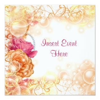 Vintage rose elegant floral swirl 13 cm x 13 cm square invitation card