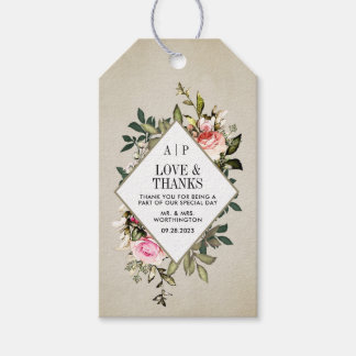 Vintage Rose Floral Greenery Wedding Favor Tags