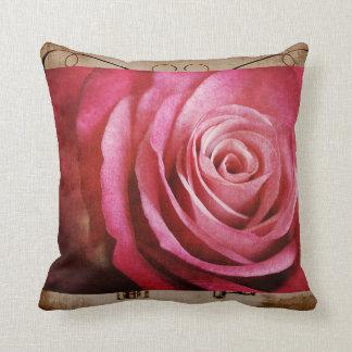 Vintage rose grunge pillow