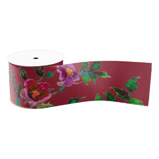 Vintage Rose - marsala Grosgrain Ribbon