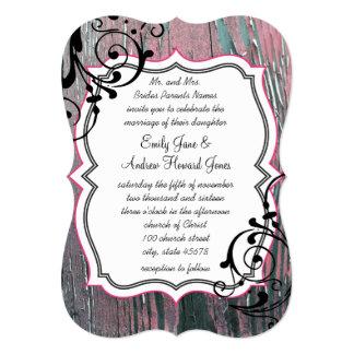 Vintage Rose Old Barn Wood Swirl Wedding 13 Cm X 18 Cm Invitation Card