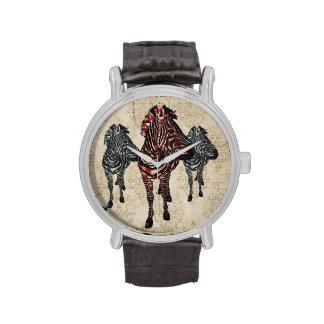 Vintage Rose Zebras Watch