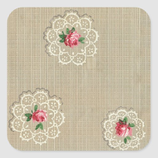 Vintage Rosebud Doily Design Sticker