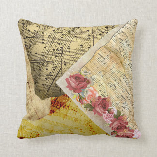 Vintage Roses and Musical Notes Sheet Music Pillow