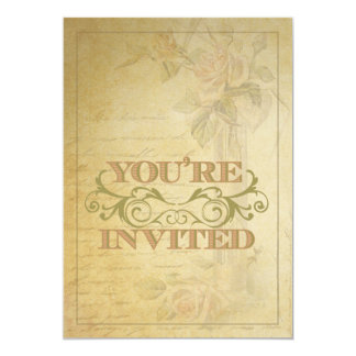 Vintage Roses and Swirl Wedding Invitation