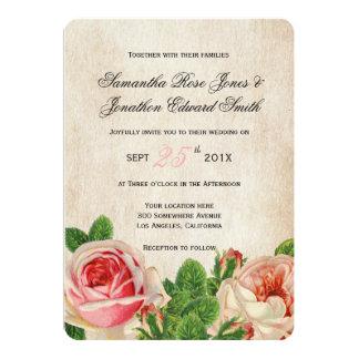 Vintage Roses Floral Wedding Invitation
