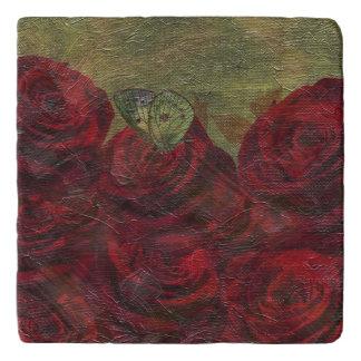 Vintage Roses Green Oil Painting Trivet