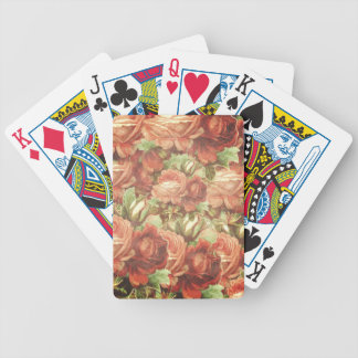 Vintage Roses Grunge Bicycle Playing Cards