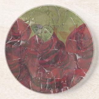 Vintage Roses Oil Grunge Coaster