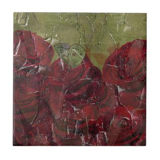 Vintage Roses Oil Grunge Small Square Tile