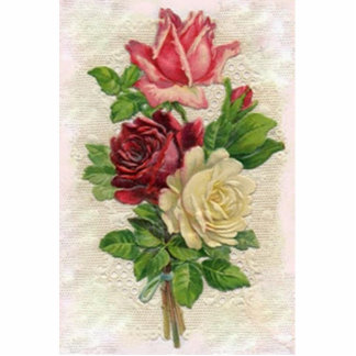 Vintage Roses Photo Sculpture Key Ring