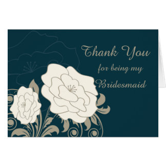 Vintage roses & swirls Bridesmaid Thank You card
