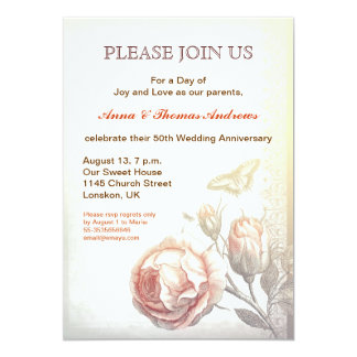 vintage roses wedding anniversary card