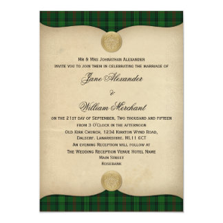 Vintage Ross Hunting Tartan Plaid Wedding 13 Cm X 18 Cm Invitation Card