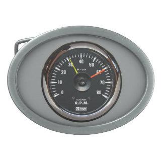 Vintage Round Analog Auto Tachometer Belt Buckle