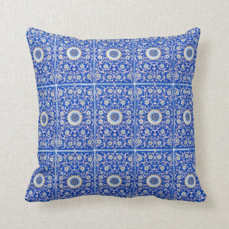 Vintage royal blue and pink flowers throw pillow