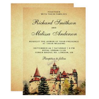 Vintage Royal Fairytale Castle Wedding Invitation
