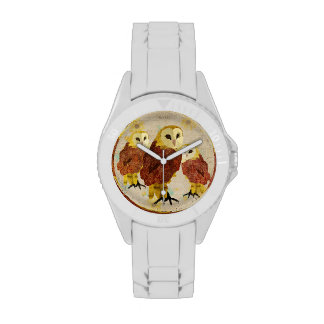 Vintage Ruby & Gold Owls Watch