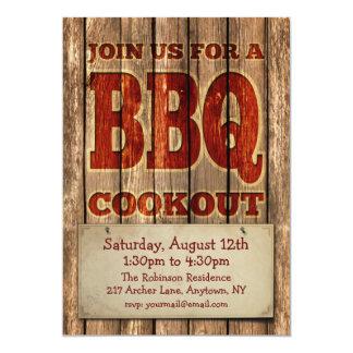 Vintage Rustic Carved Wood design BBQ Invitation