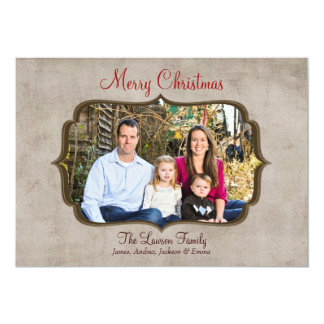 Vintage Rustic Frame Merry Christmas Photo Card