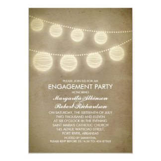 vintage rustic lanterns engagement party card