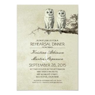 Vintage rustic OWL couple rehearsal dinner Card