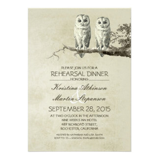 Vintage rustic OWL couple rehearsal dinner Personalized Announcement