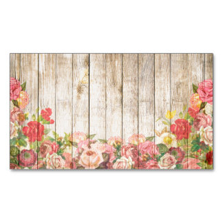 Vintage Rustic Romantic Roses Wood Magnetic Business Card