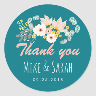 Vintage Rustic Spring Flower Wedding Favour Classic Round Sticker