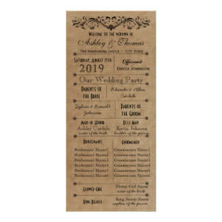 Vintage Rustic Typography Style Wedding Programs Rack Card