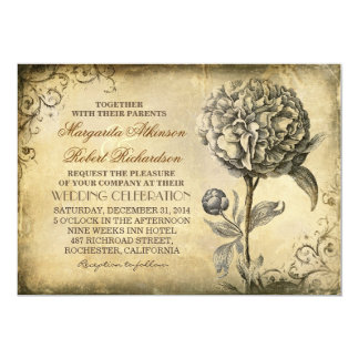 vintage rustic wedding invitation with peony bloom