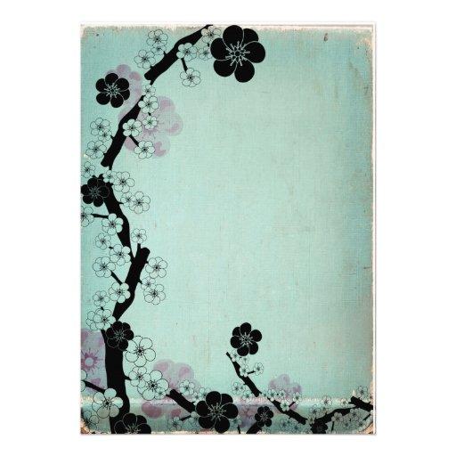 Vintage sakura flowers invitations